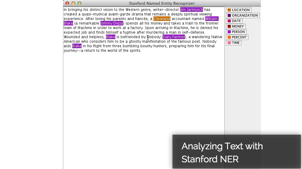 Using the Stanford Named Entity